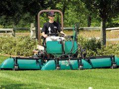 Grasshopper with Drift Control Sprayer in action